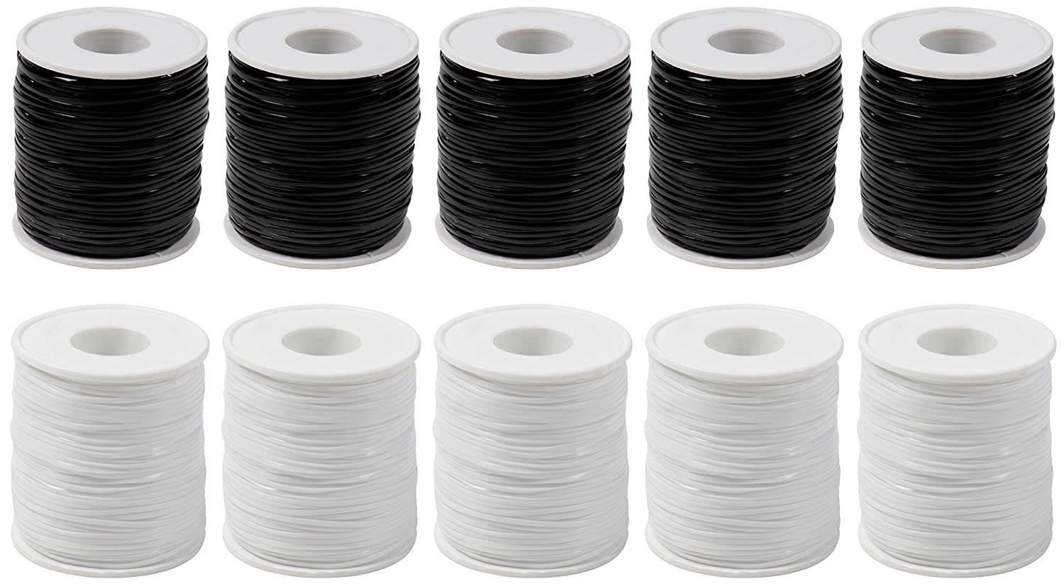 Plastic Lacing Cord - 10-Pack Plastic String, Gimp String, for Lanyard, Friendship Bracelet Jewelry Making, Keychain Charm, DIY Craft, Black and White, 0.06 inches Wide, 100 Yards Each