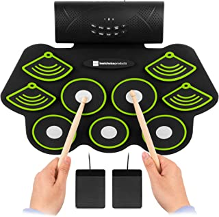 Best Choice Products Electronic Drum Set, Bluetooth Roll Up Portable Practice Pad Kit w/Built-In Speakers, Drum Pedals, Headphone Jack, Drum Sticks for Kids and Beginners
