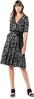 GABBY SKYE Women's 3/4 Sleeve V-Neck Printed Faux Wrap Dress