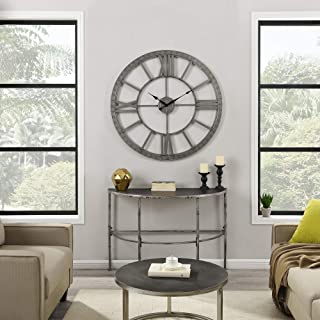 FirsTime & Co. Silver Big Time Clock, American Crafted, Distressed Silver, 40 x 2 x 40 ,