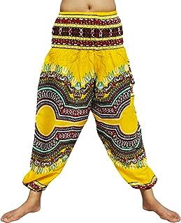 Full Funk Rayon Smock Waist Harem Pants Pocket Straight Mixed Dashiki Pattern