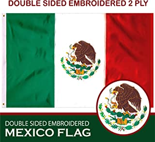 G128 – Mexico (Mexican) Flag | 3x5 feet | Double Sided Embroidered 210D – Indoor/Outdoor, Brass Grommets, Heavy Duty Polyester