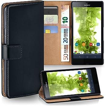 MoEx Premium Book-Case Handytasche kompatibel mit Sony Xperia Z   Handyhülle mit Kartenfach und Ständer - 360 Grad Schutz Handy Tasche, Schwarz