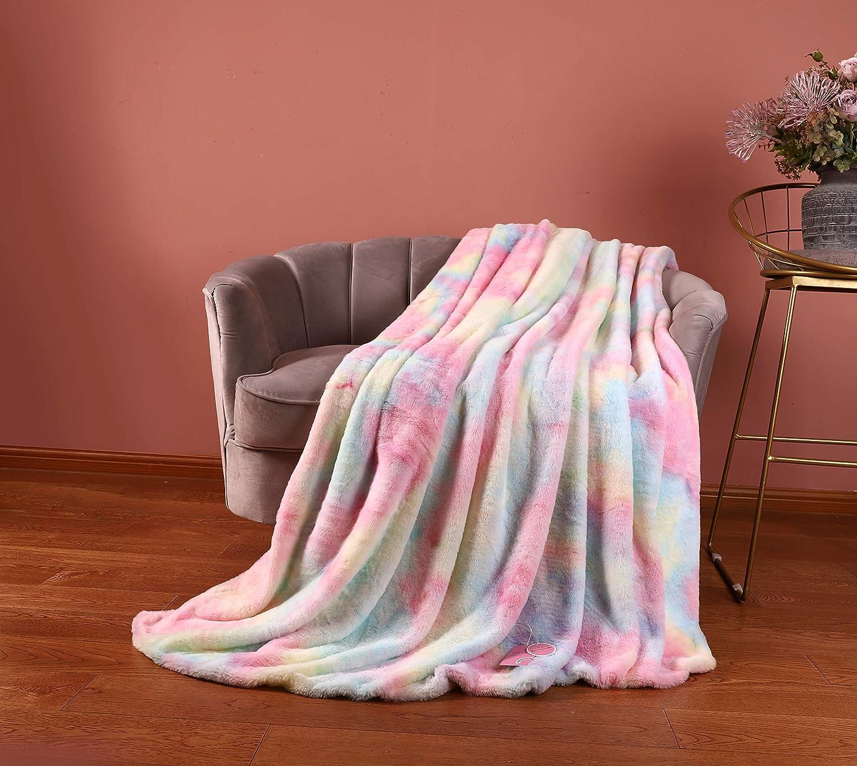Rainbow Shaggy Decorative Max 85% OFF Throw Bargain sale Blanket Microfiber Plush F Comfy
