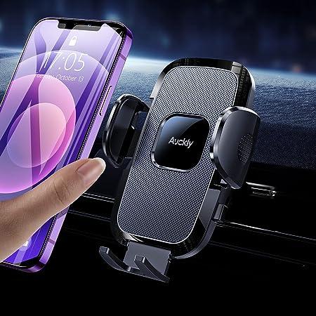 Auckly 車載ホルダー [エアバッグシリコーン] スマホホルダー オートホールド式 片手操作 エアコン吹き出し口式 スマホスタンド 車 携帯ホルダー 取り付け簡単 高級網状シリコーン素材 日本語説明書付き/正規保証48ヶ月/4-7インチ全機種対応 /iPhone 12 Pro Max Mini /11/X/XS/XR/8 Galaxy S20 S10 P 20 Sony Huaweiなどに対応…