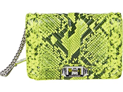 Rebecca Minkoff Chevron Quilted Small Love Crossbody (Neon Yellow) Cross Body Handbags