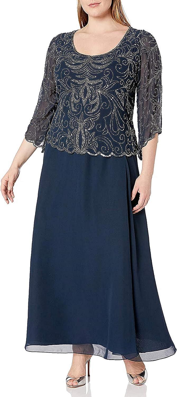 J Kara Women's Plus-Size Scoop-Neck Long Dress