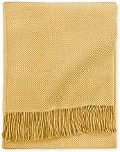 Sferra Bristol Honey Fringed Throw Blanket Hand- Knotted Cotton/Alpaca Soft
