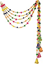 R and D Handicrafts Handmade Indian Beaded Pom Pom Garland with Festive Bell 4ft Long Pack of 5 Strands for Diwali Bohemia...