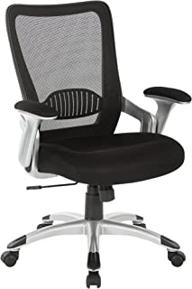 Office Star Screen Back Chair with Padded Mesh Seat, Flip Arms, and Silver Accents, Black