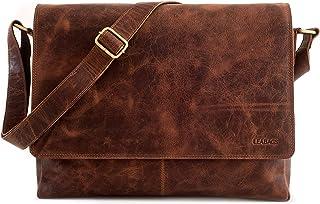 LEABAGS großer Messenger Bag/Umhängetasche/Schultertasche/Unitasche/Collegetasche aus echtem Büffelleder - Unisex - Vintag...