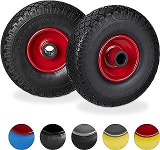 Relaxdays, svartröd säckkärrsats, punkteringssäker, 3,00–4 massiva gummidäck, stålfälg, 25 mm axel, 100 kg, 260 x 85 mm