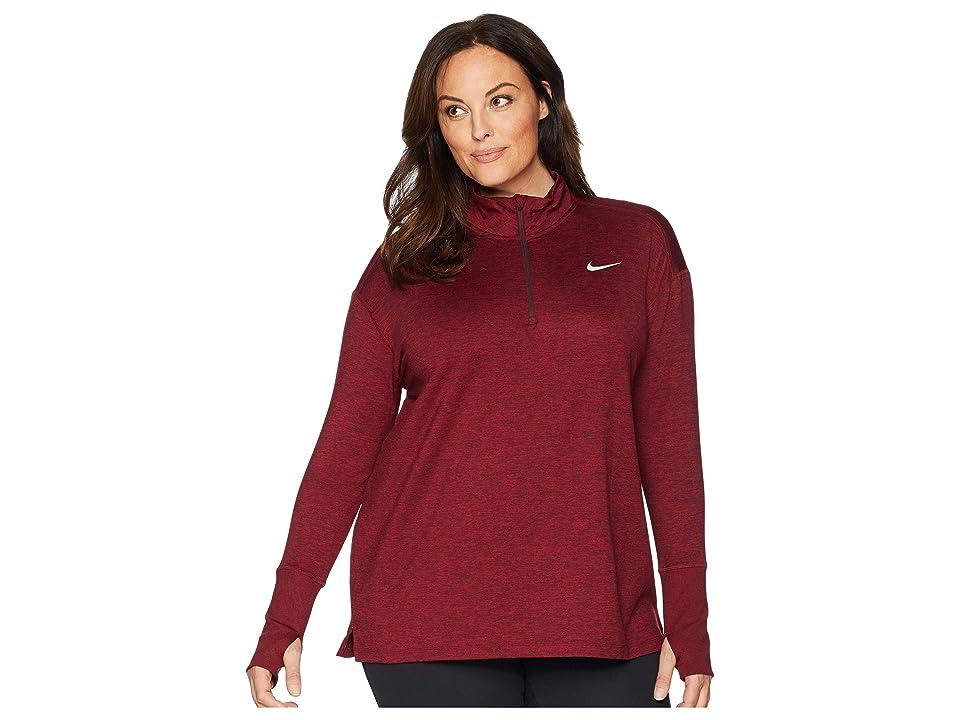 Nike Element 1/2 Zip Top (Sizes 1X-3X) (Burgundy Crush/Red Crush/Heather) Women