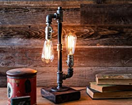 Edison Desk Lamp, Industrial Table Lamp, Steampunk Metal Pipe Lamp for Nightstand, Dressers, Coffee Table, Study Desk in Bedroom College Dorm