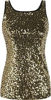 Women's Full Sequin Tank Top Sleeveless Sparkle Shimmer Vest Tops Clubwear