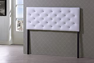 Baxton Studio Viviana Modern & Contemporary Faux Leather Upholstered Button Tufted Headboard, Queen, White