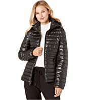 Hooded Zip Front Channel Quilted Packable