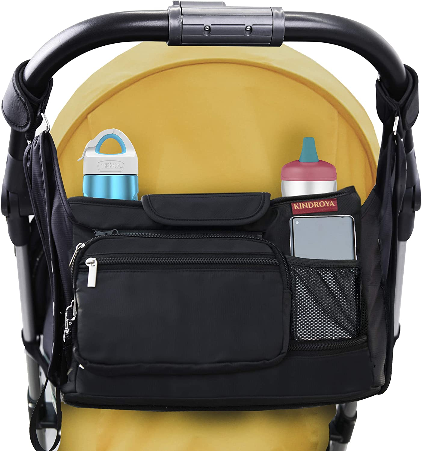 Kindroya Universal Stroller Organizer Bag- Extra Storage, Dual Locking Mechanism, Larger Insulated Cup Holders, Non-Slip straps, Detachable Mesh and Pouch, Hidden Pockets and Free Diaper Changing Pad.