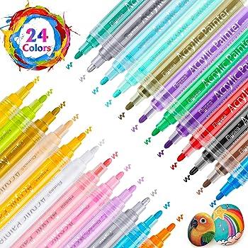 legno tessuto di tela di ceramica Rock painting photo album DIY Crafts impermeabile pittura strumenti Pennarelli per pittura acrilica 12/colori doppia punta Art pennarello per vetro