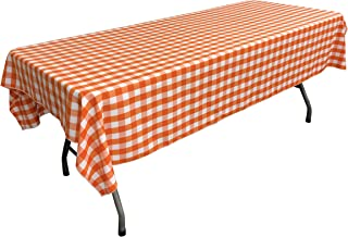 LA Linen Polyester Gingham Checkered 60 by 102-Inch Rectangular Tablecloth, White and Orange