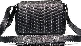 Vi Vante The Exotic Designer Medium Leather Camera Bag Black w/White Stitching Quilted
