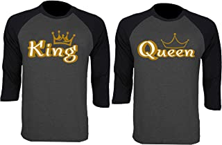Gold King Queen Baseball Shirts Couple Matching Raglan 3/4 Sleeve T-Shirts
