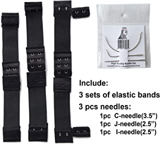 Ms Fenda Hair 3 Sets of Adjustable Elastic Band 3 Pieces of Needles for Wigs Making Wig Accessories