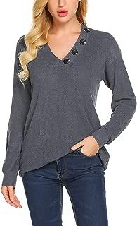 Women's V-Neck Sweater Long Sleeve Knit Pullover Jumper Tops