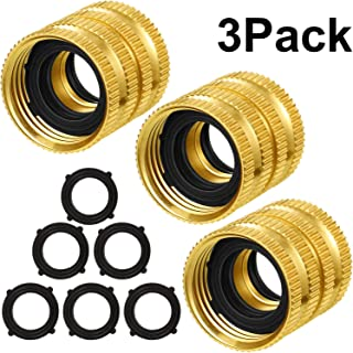 Tatuo 3 Pack 3/4 Inch Garden Hose Double Female Swivel Quick Connector Adapter with Extra 6 Pack Washer for Standard Garden Hose