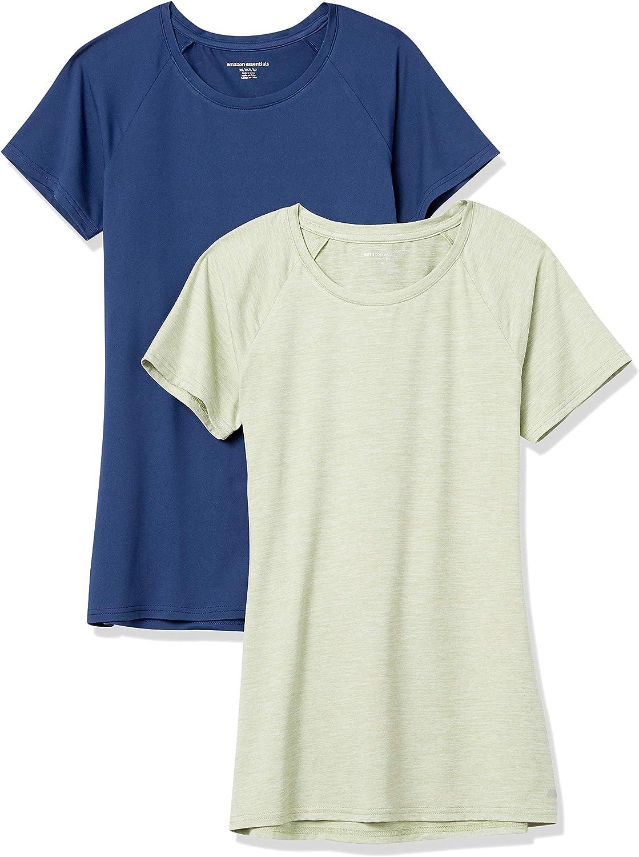 Amazon Essentials Women's Cap-Sleeve Tech Stretch 2-Pack T-Shirt