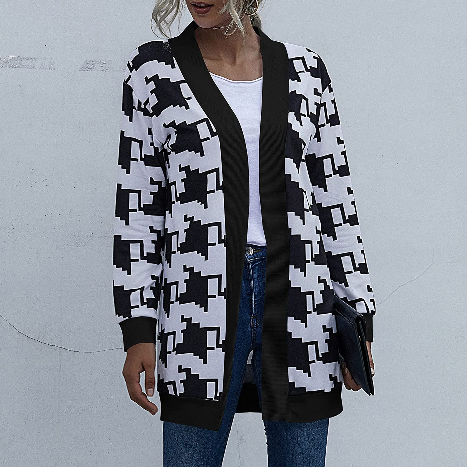 Cardigan for Women Print Splicing Open Stitch Coat Cardigans Casual Long Sleeve Long Outerwear Tops