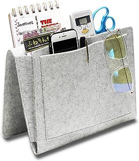 Hbsite Filt sängbord förvaringsväska med fickor, inlägg soffa dubbelskikt hängande organiserare för DVD, tidskrifter, surf...