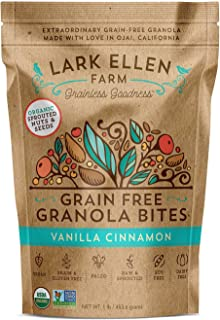 Lark Ellen Farm Grain Free Paleo Granola Bites Delicious Gluten Free Certified Organic Vegan Snacks and Cereal made from Sprouted and Activated Nuts and Seeds (Vanilla Cinnamon, 1 LB)