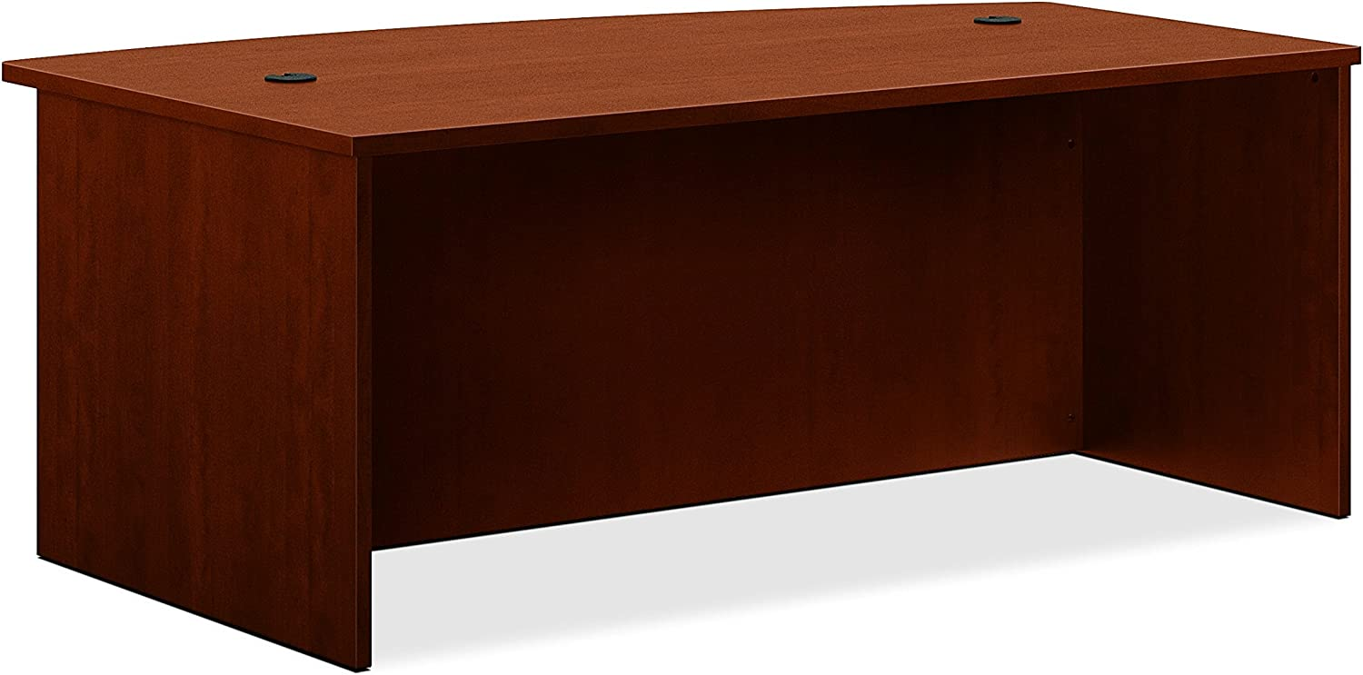 Basyx Bow Front Desk Shell, 72 by 42 by 29-Inch, Medium Cherry