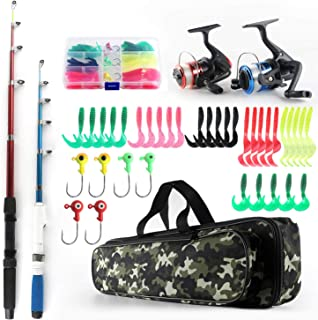 Fishing Rod and Reel Combos Telescopic Fishing Pole Spinning Reels Full Kit, 1.3M & 1.6M Fishing Rods + 2PCS Spinning Reel...