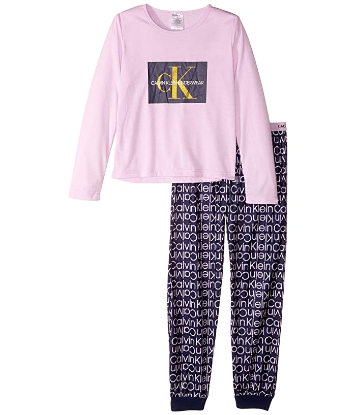 Piece Set w/ Brushed Micro (Little Kids/Big Kids) (Crystal Pink/CK Pink Plaid) Girl's Pajama Sets