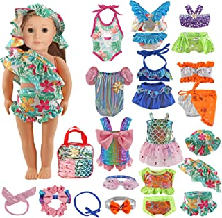 Girl Doll Clothes and Accessories - 22 PCS 18 Inch American-Doll Girl Clothes Include 10 Complete Set Doll Swimsuits Outfits with Hair Bands & Cap Dolls Accessories fit 14-18 inch Doll, for Girls Gift