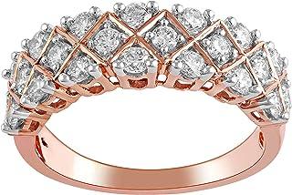 1 قيراط معتمد مختبر نمت الماس خواتم تويست الزفاف (الحجم 7) للنساء معتمد مختبر مكون خواتم الماس 14 ك روز الذهب الماس