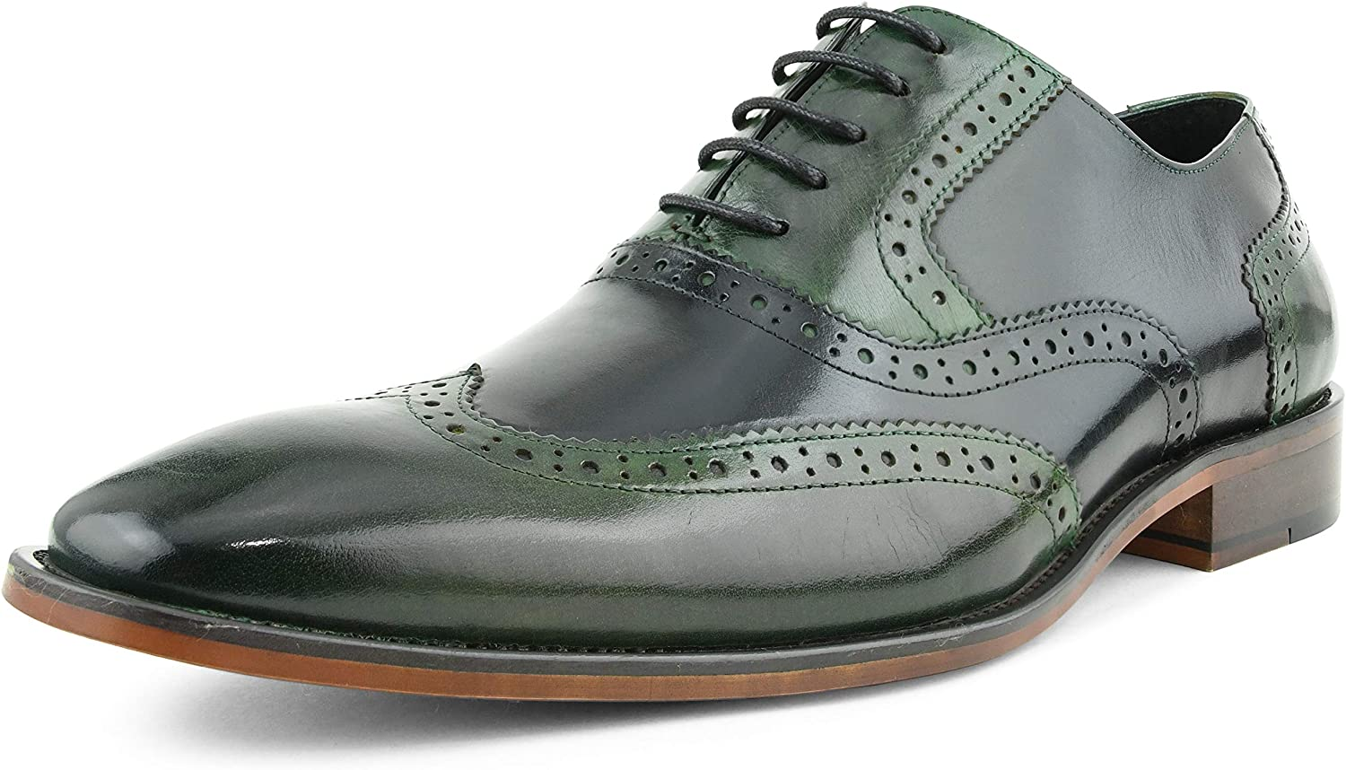Asher Green AG100 - Men's Dress Shoes - Genuine Calf Leather Wingtip Oxfords - Two Tone and Multi Tone Mens Dress Shoes