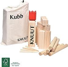 Moorland Knuut Original Kubb Spiel XXL - FSC® Holzspiel mit Stoffbeutel – Wikingerspiel Outdoor Spiele Schwedenschach Holzspiele