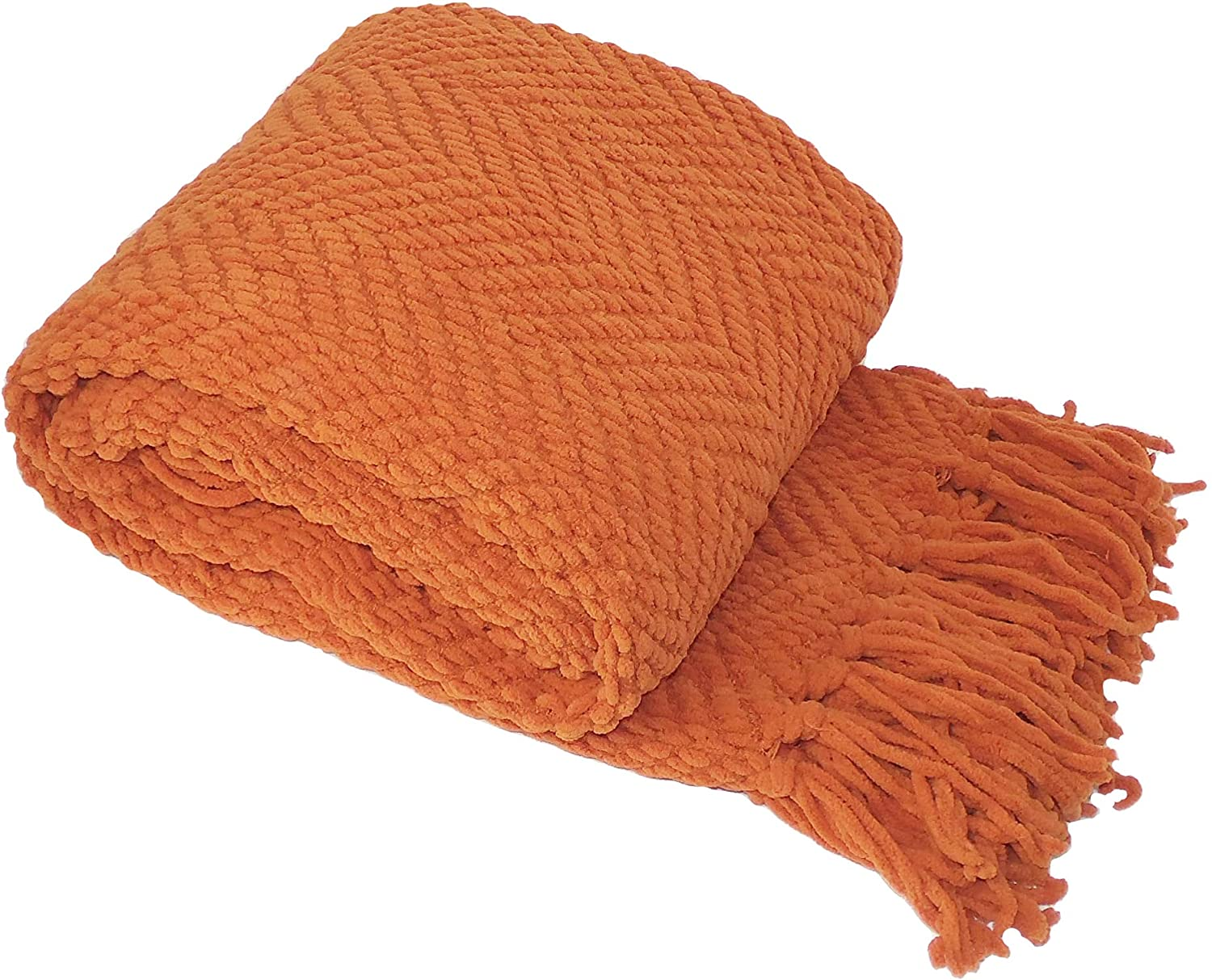 Home SALENEW very popular! Soft Things Orange Max 40% OFF Throw Knitted 50'' Blanket x Tweed