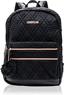 Cosmopolitan Women's Quilted Travel Backpack with Rose Gold Hardwear (Black)