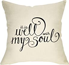 Fbcoo Rustic Farmhouse Inspirational Sign Decorative Throw Pillow Case It is Well with My Soul Cushion Cover Home Decor 18 x 18 Inch Cotton Linen for Sofa Couch