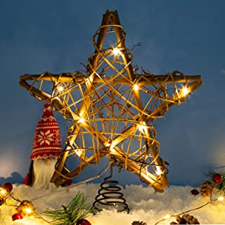 LAWOHO Christmas Tree Topper Star,10-inch Rustic Brown Rattan Natural with 10 Warm White Lights(Constant Light and Timer),...