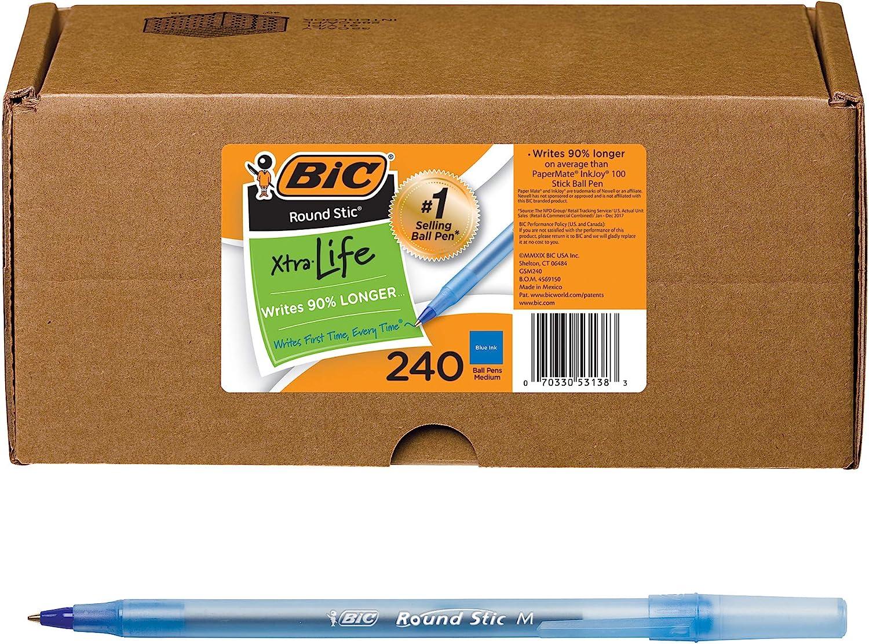 BIC Round Stic Xtra Life Japan Maker New Ballpoint 1.0mm Pen Medium Point Bl Max 65% OFF