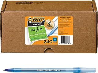 Bic GSM240-BLU Round Stic Xtra Life Ballpoint Pen, Medium Point (1.0mm), Blue, 240-Count