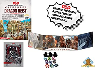 Dungeons and Dragons: Waterdeep Dragon Heist Master's Screen/Character Sheets Also Comes with Gold Groundhog Dice Set!