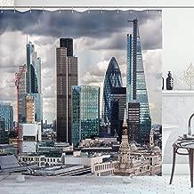 Ambesonne Urban Shower Curtain, London England Skyline Buildings and Skyscrapers and Cloudy Sky Modern Capital City, Cloth Fabric Bathroom Decor Set with Hooks, 70