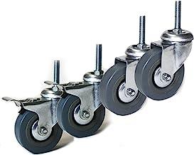 Zwenkwiel 75 mm met schroefdraad M10x40 mm set meubelwielen 2x met en 2x zonder rem