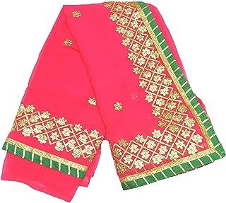 Lakshya Fabrics Women's Ethnic Chiffon Gota Patti Saree with Blouse (Size: 6.3 MTR) Pink